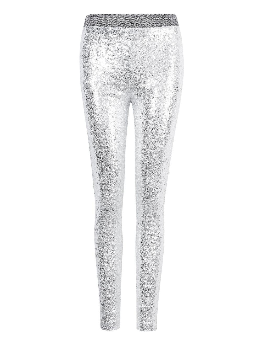 Silver Rockabilly Womens Sequins Leggings Pants METALLIC ...