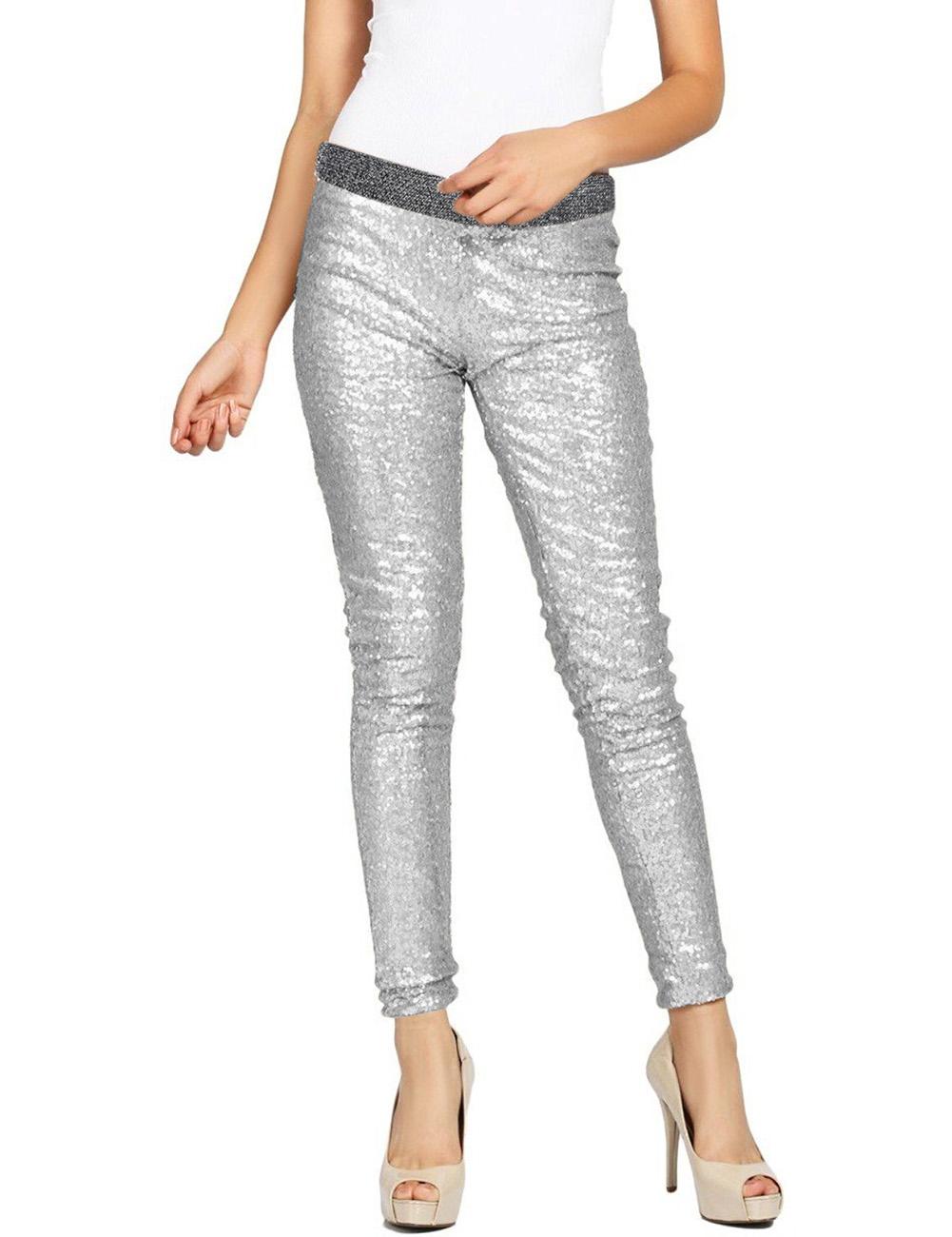 women 39 s rockabilly sequins skinny leggings pants winter glitter pencil jeggings ebay. Black Bedroom Furniture Sets. Home Design Ideas