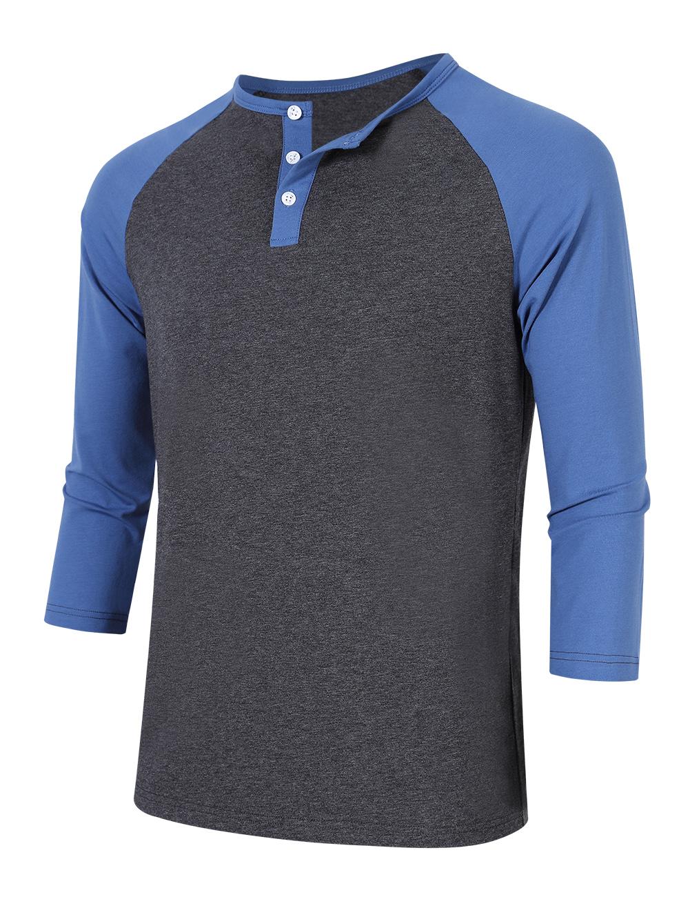 Men 39 s baseball henley tee shirt tops 3 4 raglan sleeve for Mens colored t shirts