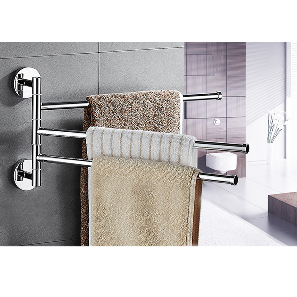 3 towel swivel holder bars stainless steel bath rack rail - Bathroom shelves stainless steel ...