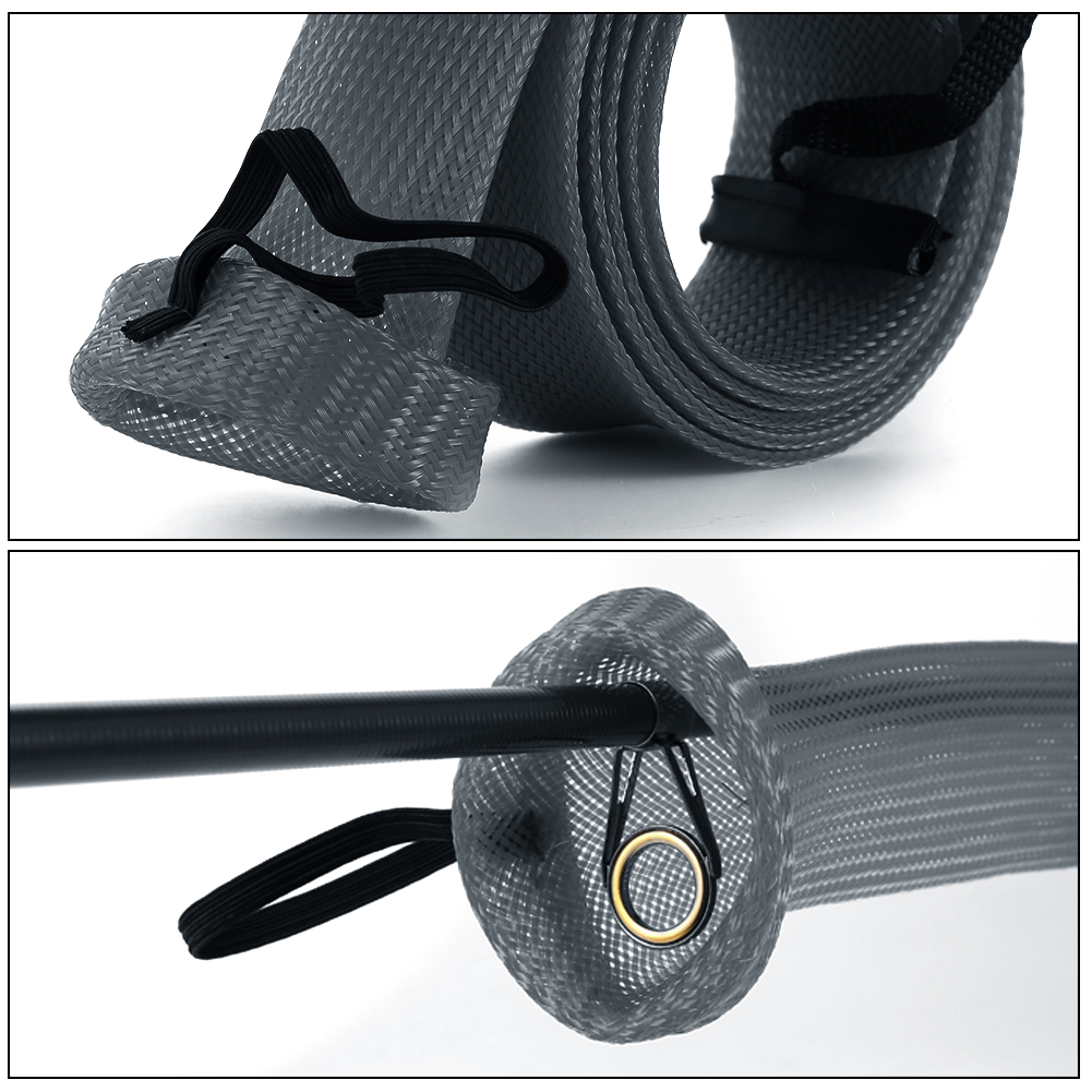 Expandable braided rod sleeve fishing spinning rod cover for Fishing pole sleeves