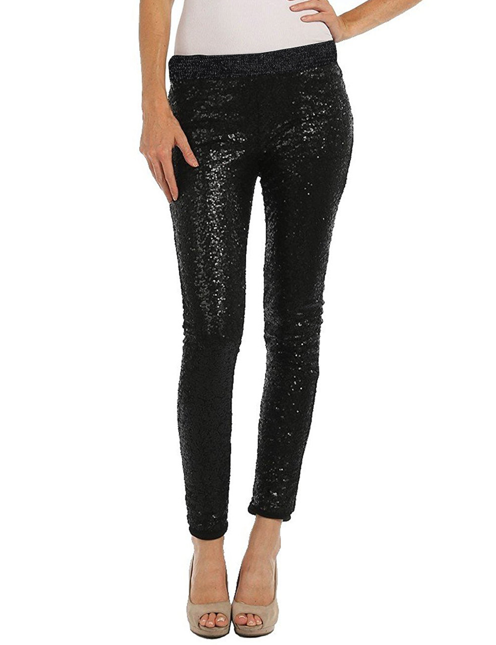 Women Shiny Sequin Stretch Skinny Legging Pants Stretch ...