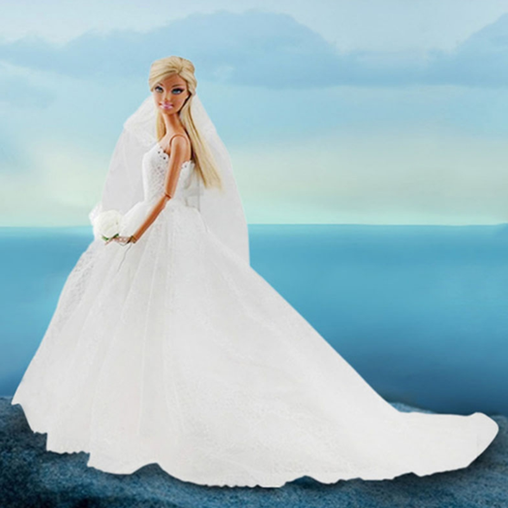 Barbie Doll Bridal Wedding Gown Embroidery Dress Skirt &Veil Kid ...