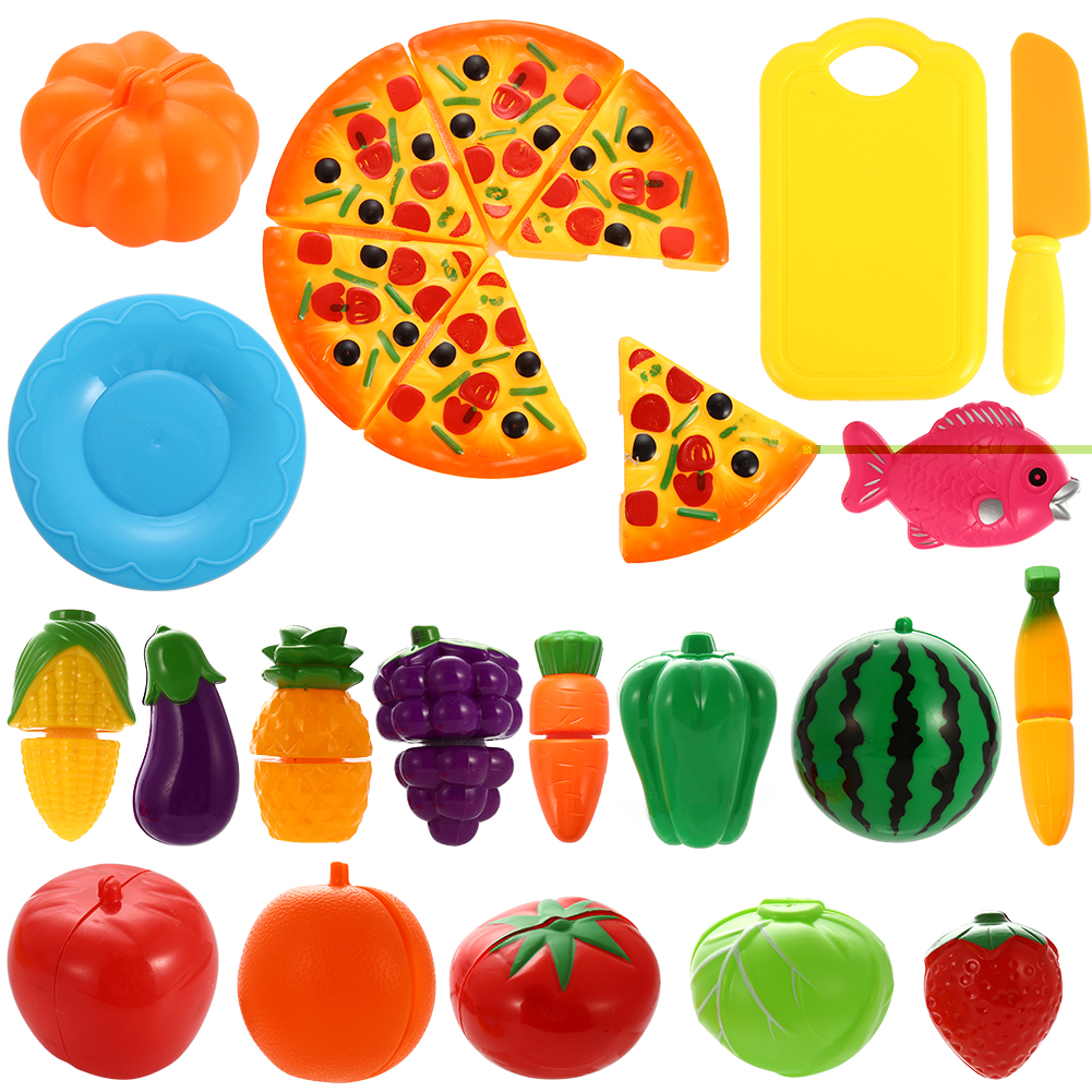 24x Plastic Cutting Fruits Vegetables Play Food Kid Kitchen Role Toy